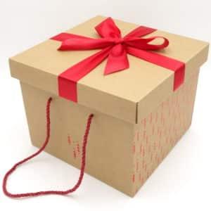 Boite cadeau en carton kraft, idéale pour Noël. Motif et noeud rouge. Grande taille.
