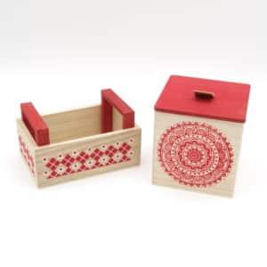 Ensemble Coffret et Panier en bois motif rouge