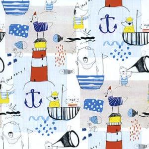 papier cadeau pour enfant, motif de la mer.