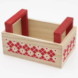 Coffret en bois rouge et blanc