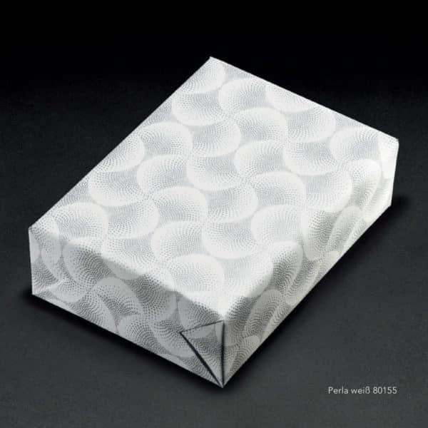 Papiers cadeaux Blanc & Argent de gamme premium. Motif relief.