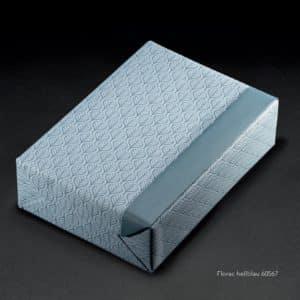 Papiers cadeaux feuilles, bleu, reversible. Gamme écologique, recyclé.