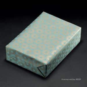 Papier cadeau bleu et or, premium, écologique