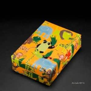 Papier cadeau pour enfants de qualité premium. Animaux sauvages, lion, girafe, crocodile, panda...