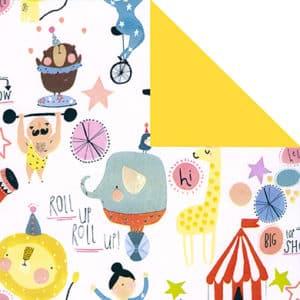 Papier cadeau pour anniversaire enfant. Motif cirque jaune. Réversible.
