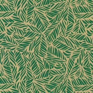 Papiers cadeaux vert floral, sur kraft recyclé. Motif feuilles de palmier.