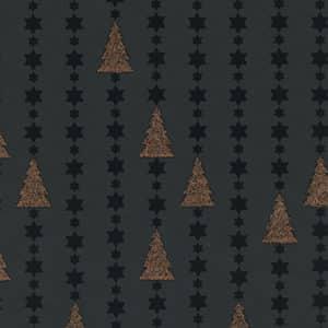 Papier cadeaux de Noël, sapins cuivrés sur fond noir. Haut de gamme.