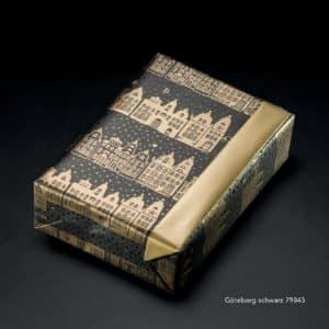 Papier cadeaux de Noël, réversible, village couleur Noir et doré.