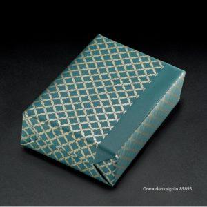 Papier cadeau vert et or. Qualité luxe. Ecologique.