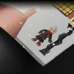 Papier cadeau Noël village neige