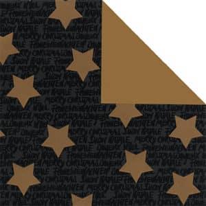 Papiers cadeaux Noël, étoiles dorées sur fond noir. Gamme luxe.