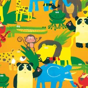 Emballage cadeaux pour enfants. Animaux de la jungle sur fond jaune.