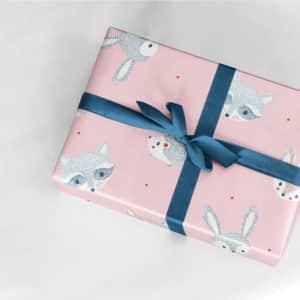 papier cadeau rose fille naissance animaux