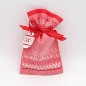 Pochon en tissu rouge motif flocons. Petit modèle.