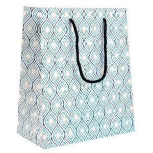 Sac cadeau motif moderne Bleu sur fond blanc.