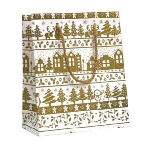 Sac cadeau village de Noël. Couleur doré et blanc.
