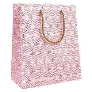 Sac cadeaux au motif rose sur papier glacé blanc.