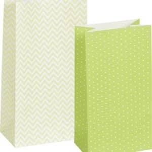 12 sachets en papier vert et blanc de marque Heyda. 2 tailles, 2 motifs.