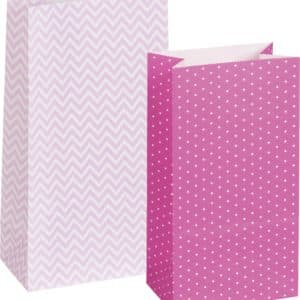 12 Sachets en papier de couleur Rose et de marque Heyda. (x12).