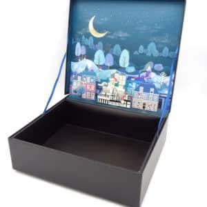 coffret cadeau avec décor 3 dimensions sur le thème de noël