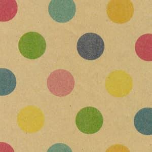 Papier cadeau Kraft 100% recyclé, pois multicolore