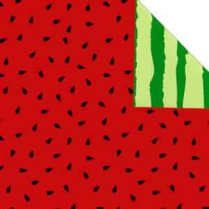 Papier cadeaux fruit, pastèque. Réversible, recto-verso, rouge et vert.