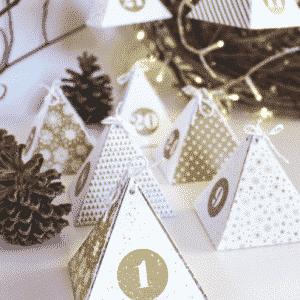 calendrier de l'avent boite pyramide or