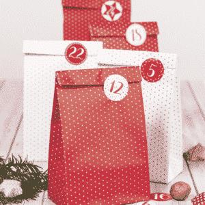 calendrier de l'avent en sachet rouge et bland