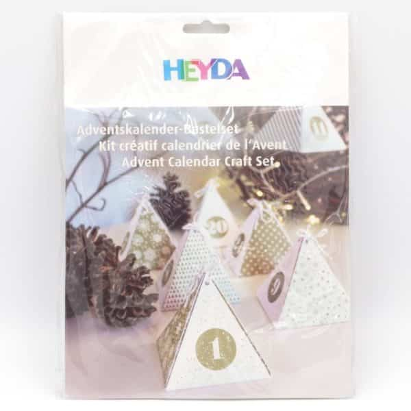 Calendrier de l'avent boite pyramide or et blanc