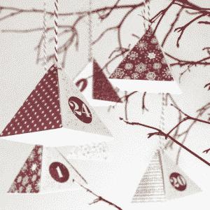 calendrier de l'avent boite forme pyramide rouge et blanc