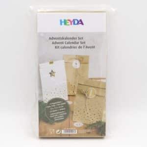 Kit de sachets et étiquettes calendrier de l'avent en Kraft et or